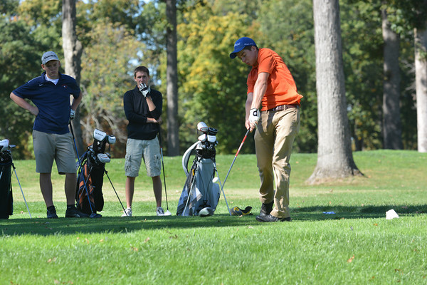 Altamont's Adam Mayhaus hits his tee shot on the 18th hole during the Class 1A St. Anthony Regional.