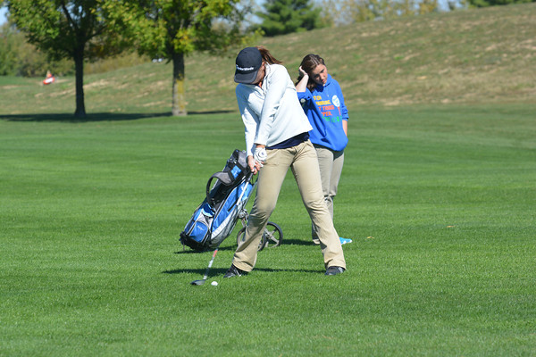 Teutopolis' Casey Willenborg hits a shot from the fairway during the Class 1A Cumberland Regional.