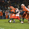 Effingham's Khye Heuerman brings down Mahomet-Seymour quarterback Joe Kenney during the first quarter.