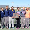 The Teutopolis tennis team celebrates its Effingham Sectional title. Pictured from left: Head coach Kaye Kimpling, Christa Schwinke, Sidney Brumleve, Molly Smith, Kaitlin Deters, Audra Breer, Lauren Hemmen, assistant coach Terry Kimpling.