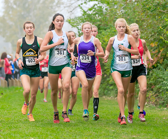 Zionsville's Sophia Rigg and Angelina Ellis run with the lead group Saturday, Oct. 15 at the IHSAA Regional at Ben Davis.