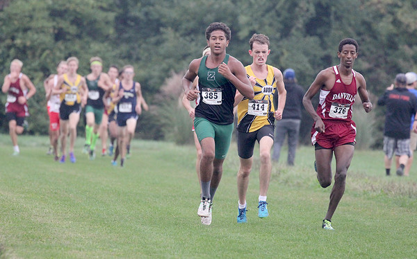 Evan Tate Browning runs with the lead pack midway through Saturday's IHSAA Regional race at Ben Davis.