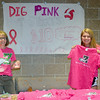 Photo by Debbie Beigh | For the Times Sentinel<br /> <br /> Diane Ziemba and Sydney Bevelhimer sell pink T-shirts at the volleyball team's 'Dig Pink' match against Avon on Thursday, Oct. 6.