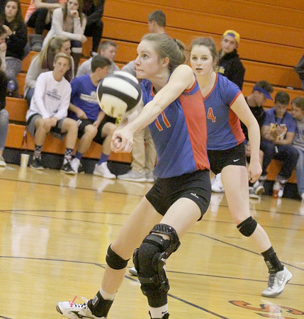 Kendra Nicley gets a dig in the second set against Crawfordsville on Thursday in the sectional.