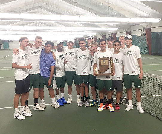 Photo courtesy of Zionsville Tennis<br /> <br /> The Zionsville tennis team poses with the sectional championship trophy after topping Western Boone.