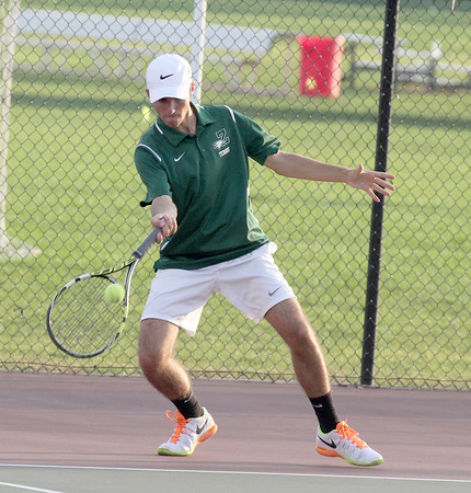 Will Rushton hits a shot at No. 2 doubles on Wednesday against Park Tudor.