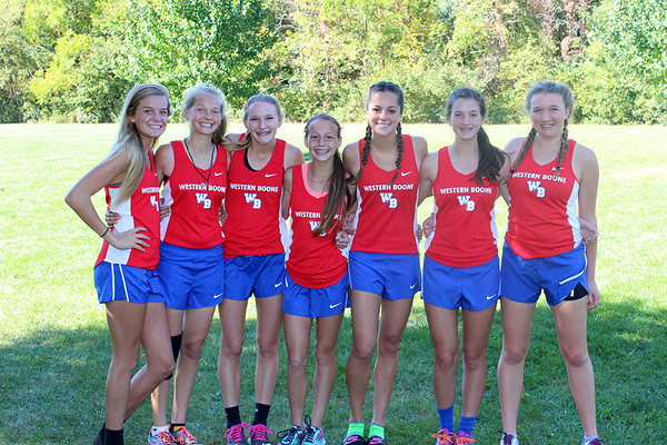 Photo courtesy of Western Boone<br /> The Western Boone girls cross country team poses after becoming the first girls team to qualify for the regional in school history.
