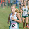 Sophia Rigg leads a pack of runners at the IHSAA State Finals in Terre Haute on Oct. 29.