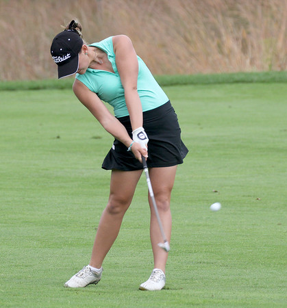 Zionsville's Annabelle Pancake hits her approach shot on the ninth fairway on Saturday.