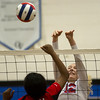 St. Anthony's Marci Mills, right, attempts a block on Neoga's Kamyl Kersey during the Class 1A Okaw Valley Regional championship in Bethany.