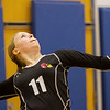 North Clay senior Bailey Walters prepares to serve during a regional quarterfinal against Patoka in Clay City.
