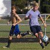 Teutopolis' Ludvig Landgren, right, crosses the ball while teammate Jason Kowalski makes a run on the outside during practice in Teutopolis.