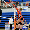 Newton's Taylor Smith tips a ball over the net for a point against Paris during the Lady Eagles' Senior Night win.