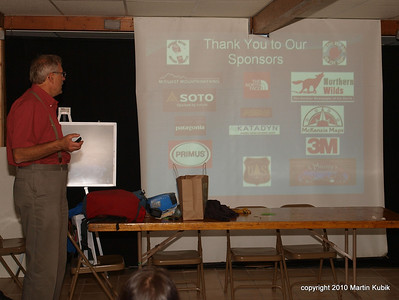 Thank you to all of our sponsors and the USDA Forest Service.   Here Martin Kubik  recognizes supporting businesses.   Join us on our next adventure!   For list of events, see http://www.meetup.com/Friends-of-BWCA-Trails  Thank you for volunteering!