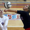 10-18-12<br /> Maconaquah Volleyball<br /> Maconaquah's Emily Wilson digs for the ball during the game against West Lafayette on Thursday night.<br /> KT photo   Kelly Lafferty
