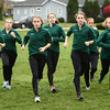 10-23-12<br /> Seniors Sarah Wagner, Bethany Neeley, Brittany Neeley, and Breann Donson lead the  Eastern cross country team during practice outside of school.<br /> KT photo | Kelly Lafferty