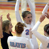 10-18-12<br /> Maconaquah Volleyball<br /> Michaela Walters cheers with her teammates after Maconaquah scored a point during the volleyball game against West Lafayette.<br /> KT photo   Kelly Lafferty