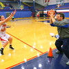 10-22-12<br /> KHS Girls Basketball practice<br /> Bri Poe coming at coach Jay Karp during a drill.<br /> KT photo | Tim Bath