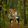 10-2-12<br /> Eastern runners in the Cross Country MIC at Oakbrook Valley Park.<br /> Brittany Neeley and Bethany Neeley leading the race.<br /> KT photo | Tim Bath