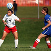 10-4-12<br /> Kokomo HS vs Logansport soccer<br /> Logansport's Katie Griffith head butts the ball while Kokomo's Katie Whiteman watches the action during Thursday afternoon's game.<br /> KT photo | Kelly Lafferty
