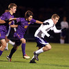 10-19-13<br /> Northwestern vs. Guerin Catholic Regional title game<br /> Northwestern's Jacob Wagner (right) and Guerin Catholic's Jacob Cloran and Luke Bestard.<br /> KT photo | Kelly Lafferty