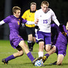 10-19-13<br /> Northwestern vs. Guerin Catholic Regional title game<br /> Northwestern's Jacob Wagner and Guerin Catholic's Zach Garvey and Andrew Kaskie.<br /> KT photo | Kelly Lafferty