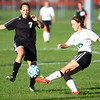 10-10-13<br /> Eastern vs. Sheridan soccer<br /> Sheridan's Payton Fleener and Eastern's Rebecca Mundell<br /> KT photo | Kelly Lafferty