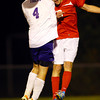 10-17-13  --  Regional Boys Soccer Northwestern vs Western Boone HS<br /> Northwestern's Spencer Lubben and WB's Sean Farris going for a headball.<br />   KT photo | Tim Bath