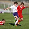 10-9-13<br /> Northwestern vs. Rossville soccer<br /> Northwestern's Robert Olsen and Rossville's Jacob Taylor.<br /> KT photo | Kelly Lafferty