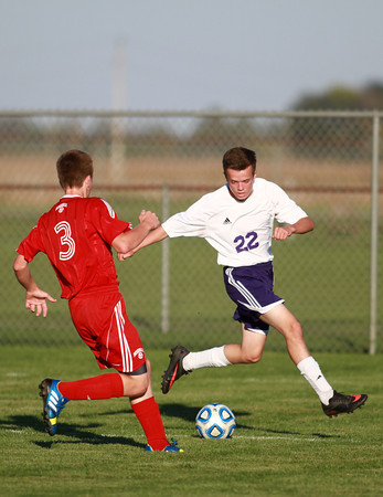 10-9-13<br /> Northwestern vs. Rossville soccer<br /> Rossville's Nolan Anderson and Northwestern's Cameron Cothern<br /> KT photo   Kelly Lafferty