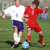 10-9-13<br /> Northwestern vs. Rossville soccer<br /> Northwestern's Spencer Lubben and Rossville's Jacob Taylor.<br /> KT photo | Kelly Lafferty