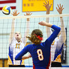 10-1-13<br /> Kokomo vs. Tri Central volleyball<br /> Tri Central's Shelby Ramsey and Whitney Revolt attempt to block a hit from Kokomo's Kirsten Frey.<br /> KT photo | Kelly Lafferty