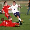 10-9-13<br /> Northwestern vs. Rossville soccer<br /> Rossville's Jayden ROsen and Nolan Anderson and Northwestern's Spencer Lubben<br /> KT photo | Kelly Lafferty