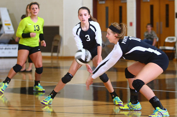10-22-13<br /> Northwestern vs. Western volleyball sectional<br /> Western's from left: Shelby Gilbert, Amanda Seaman, Sophia Rogers<br /> KT photo | Kelly Lafferty