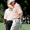 Gene Zink reacts to a missed putt in the Octogenarian Open in Longmont.<br /> Cliff Grassmick / July 18, 2012