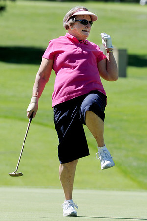 "Millie Eichelberger reacts to a missed putt in the Octogenarian Open in Longmont. For more photos go to  <a href=""http://www.timescall.com"">http://www.timescall.com</a>.<br /> Cliff Grassmick / July 18, 2012"