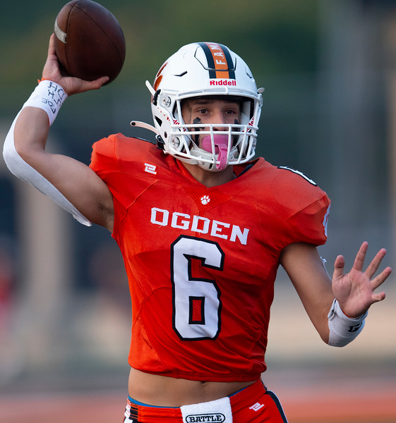 Quarterback Duke Janke (6) of Ogden High School finds a open receiver to check the ball down to. In Ogden, On August 21, 2020.