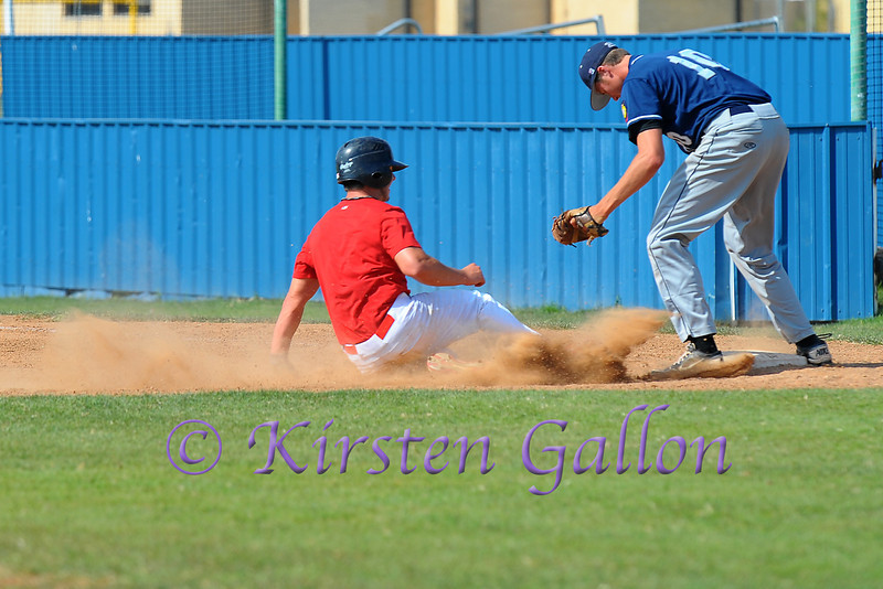 Greg Bruno making a play at first.