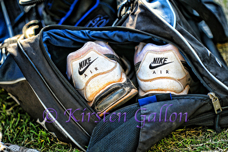 Simply, cleats in a duffle bag.