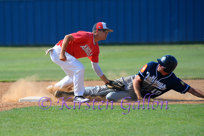 Greg Bruno just short of second gets tagged out.