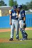 Catcher Josh Rolette and pitcher Jordan Hammer have a short conference.