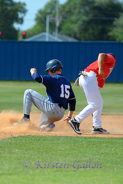 Hunter Heath beats the throw and is safe on second base.