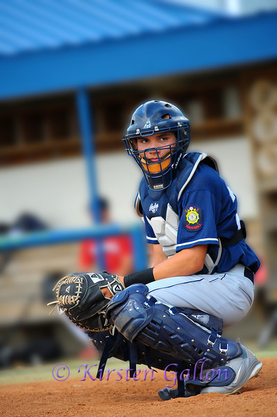Catcher Josh Rolette looks to get the pitching signal.