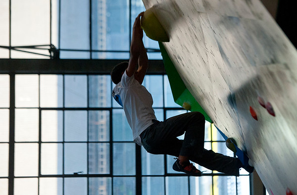 Marco Giacomangeli completes the last section of the newly constructed climbing wall. He is 12 years old out of San Diego California. This is his first competition at the Front Climbing Gym in Ogden on December 10, 2014.