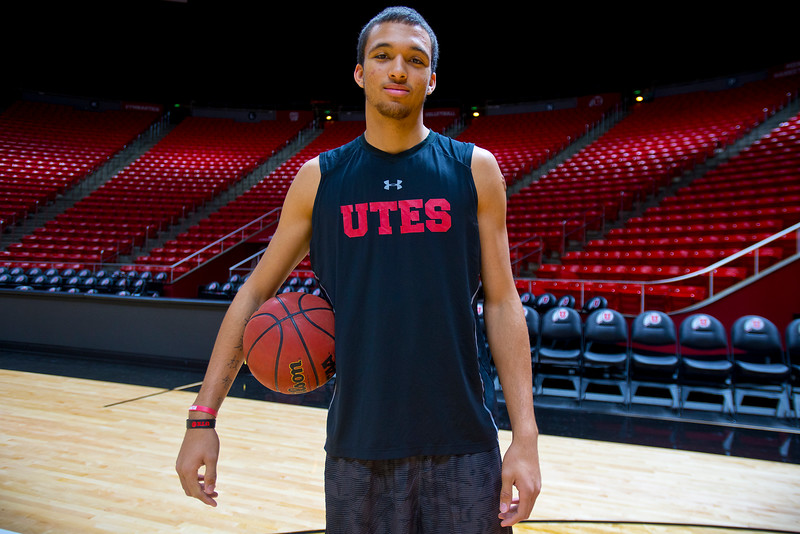 Utah Utes men's basketball player Brekkott Chapman. At the Jon M. Huntsman Center in Salt Lake City. On November 24,2014.