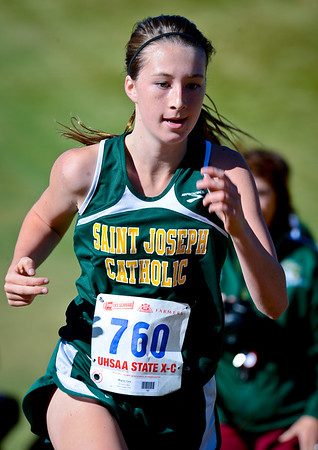 Meghan Clare from Saint Joseph High School runs uphill while competing in the state cross country championships. At Sugarhouse Park in Salt Lake City. On October 23 2013. (Brian Wolfer Special to the Standard-Examiner)