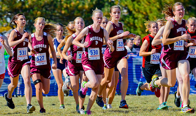 The Morgan High school girls cross country team starts the race off all bunched together.  At Sugarhouse Park in Salt Lake City. On October 23 2013. (Brian Wolfer Special to the Standard-Examiner)