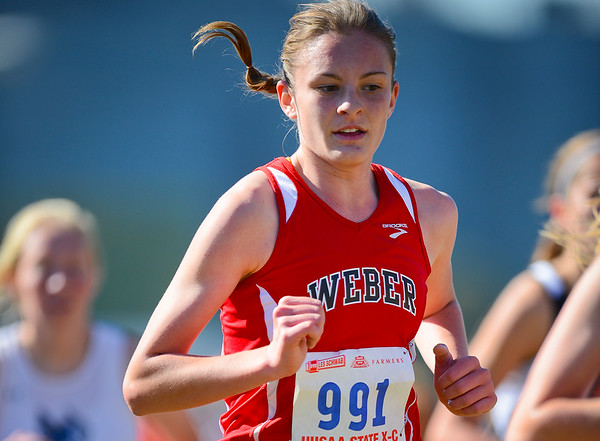 Lynzi Deeter from Weber competes in the 5A Girl's 3 Mile. At Sugarhouse Park in Salt Lake City. On October 23 2013. (Brian Wolfer Special to the Standard-Examiner)