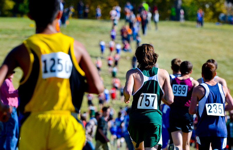 Tim Schoof  from Saint Joseph High School prepares to run up hill during the state cross country championships. At Sugarhouse Park in Salt Lake City. On October 23 2013. (Brian Wolfer Special to the Standard-Examiner)