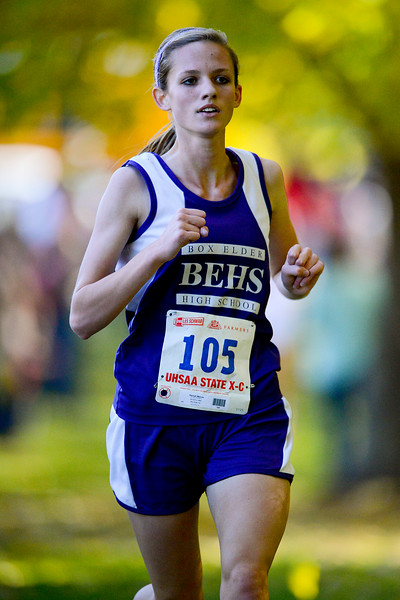 Hannah Malone from Box Elder High School at the half way point of the Girls 4a section of the the state cross country championships. At Sugarhouse Park in Salt Lake City. On October 23 2013. (Brian Wolfer Special to the Standard-Examiner)
